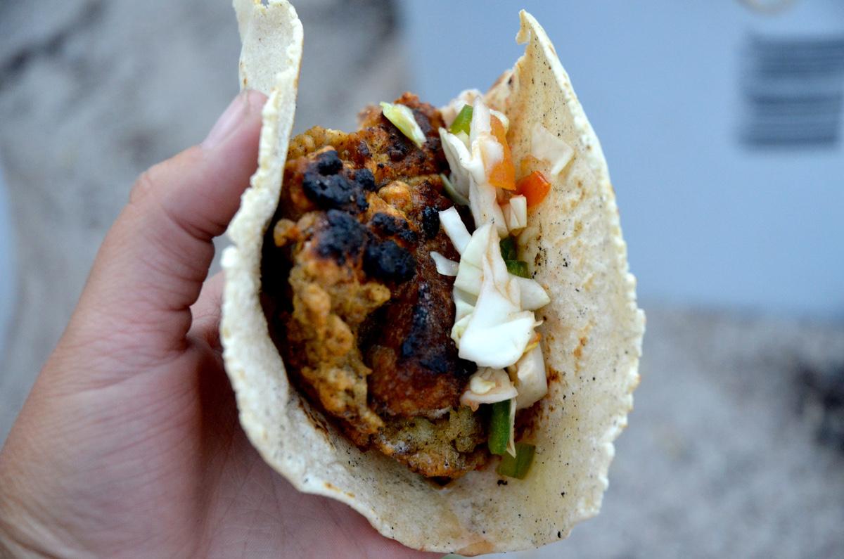 Close-up of a fresh fish taco