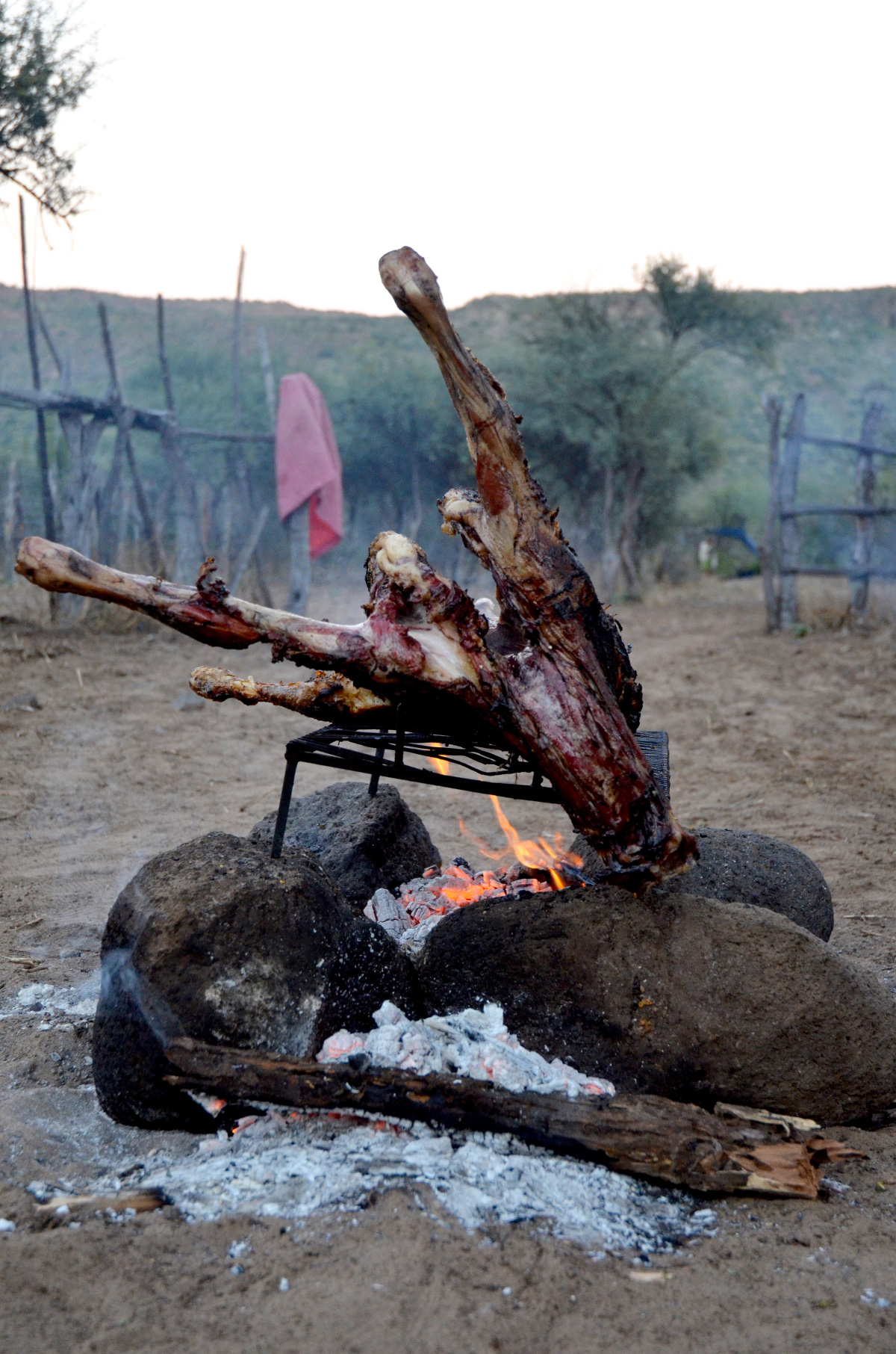 Roasting a goat on fire