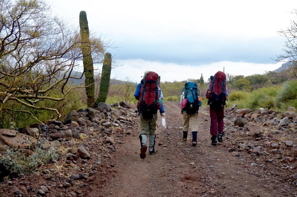NOLS students backpack in Baja