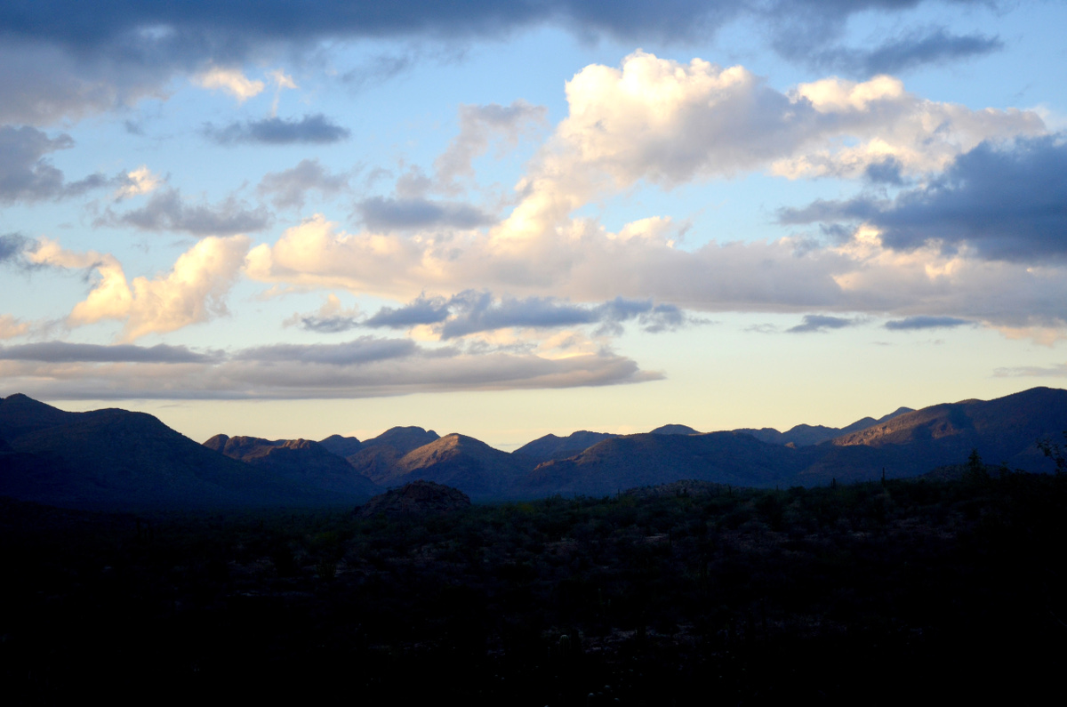 Sunset over mountains in Baja