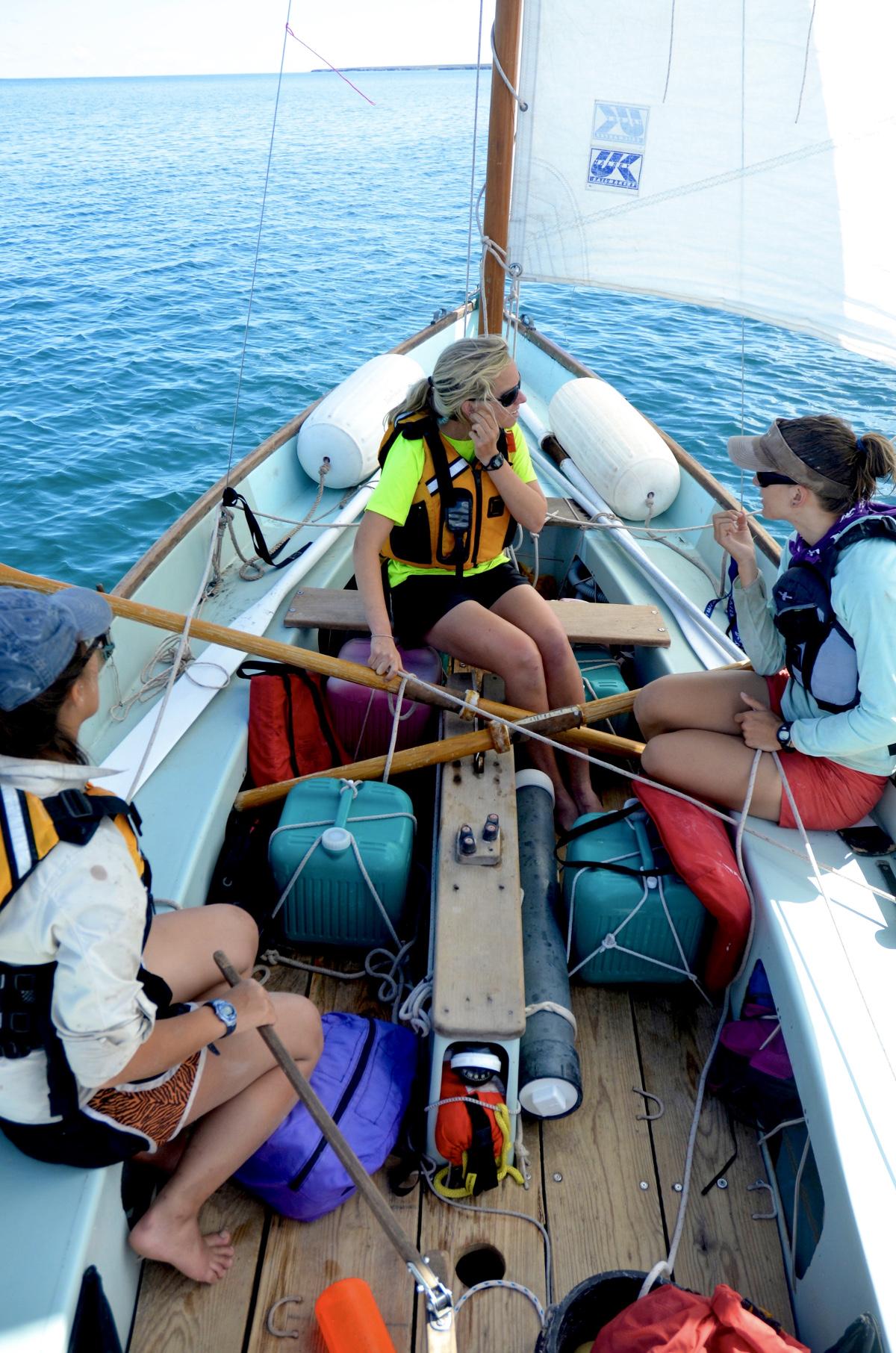 NOLS students sail on Drascombe longboat