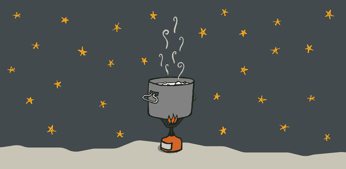 drawing of steaming pot over a campstove with stars overhead