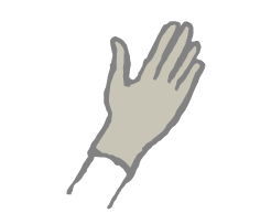 sketch of hand wearing glove