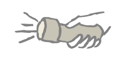 sketch of a hand holding a flashlight