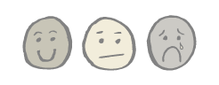 sketch of a happy smiley face, neutral smiley face, and sad face with tear