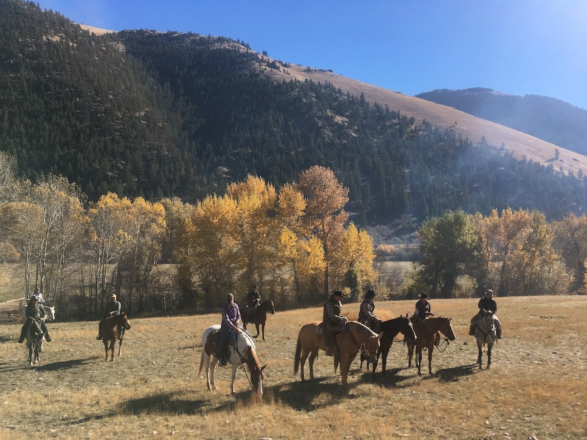 eight people on horseback in a grassy meadow with aspens and a large hill covered in pines behind
