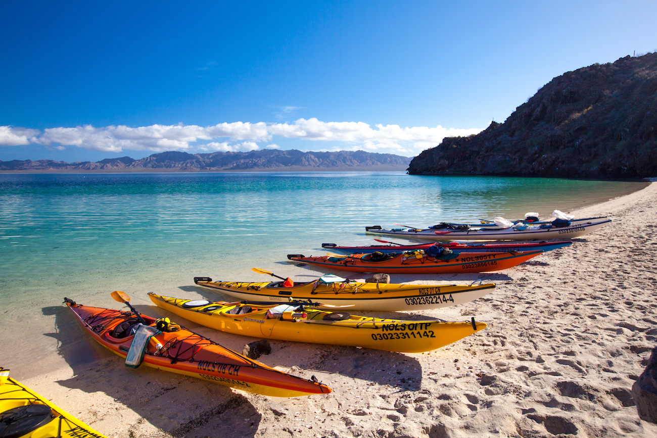 colorful kayaks pulled ashore on a sandy beach in Baja with calm turquoise water behind