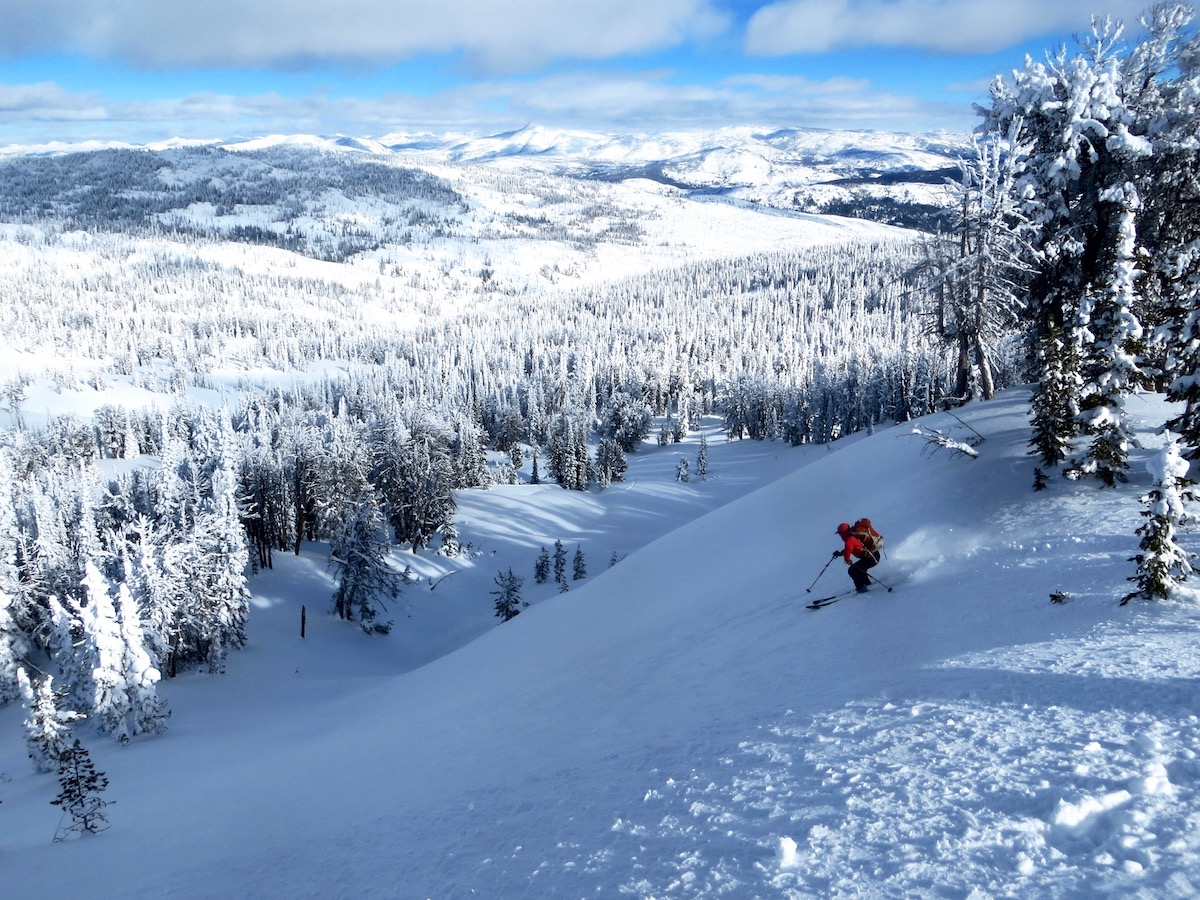 person wearing backpack skis down steep slope toward snow-covered pines with mountains beyond