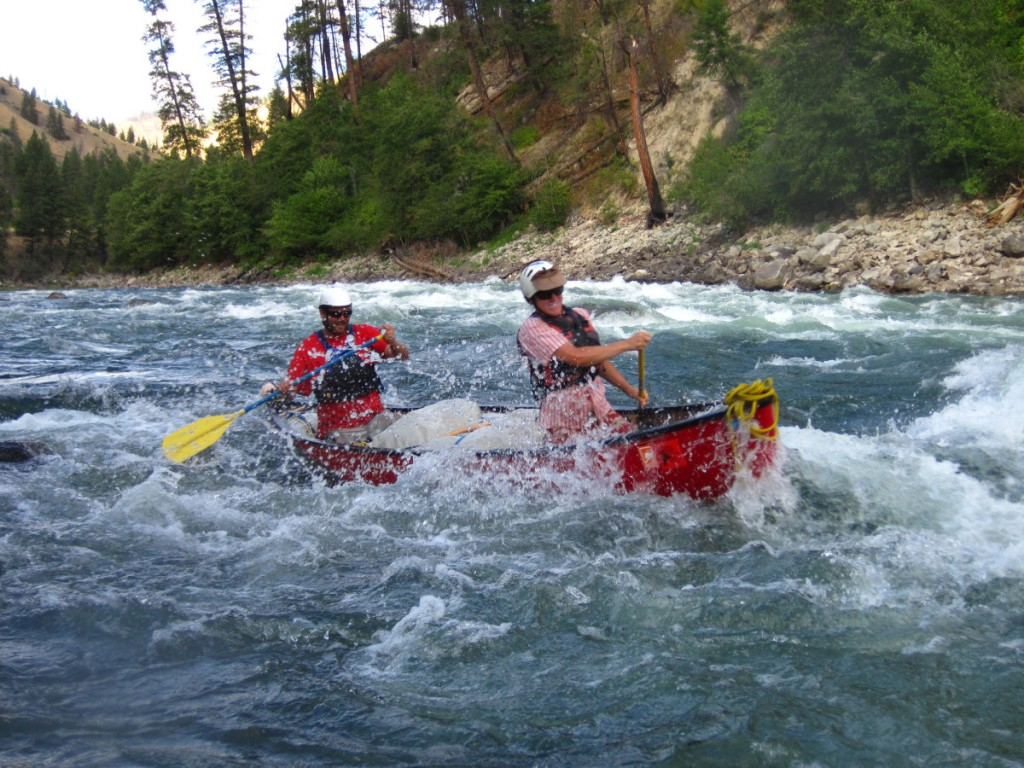 Canoeing through rapids on the Salmon River