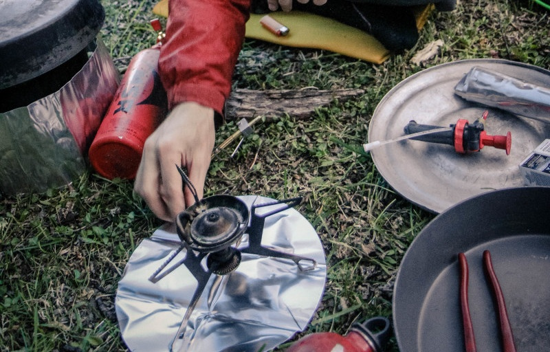 Meal prepared on a camp stove