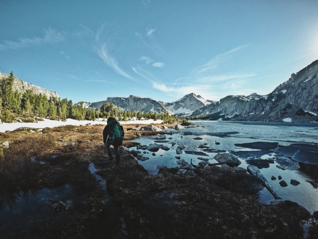 A NOLS student backpacking in the Wind River Range.