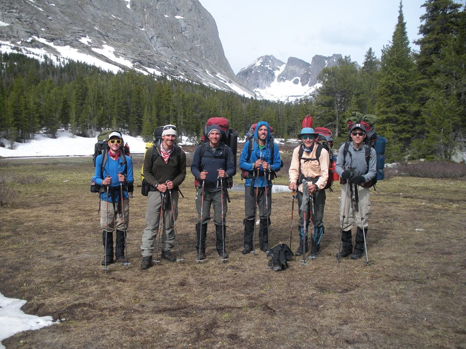 Six NOLS students on an Outdoor Educator expedition in the Wind River Range