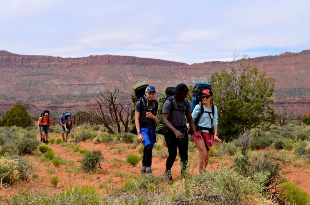 Hikers on a trail with redrock canyons and desert plants