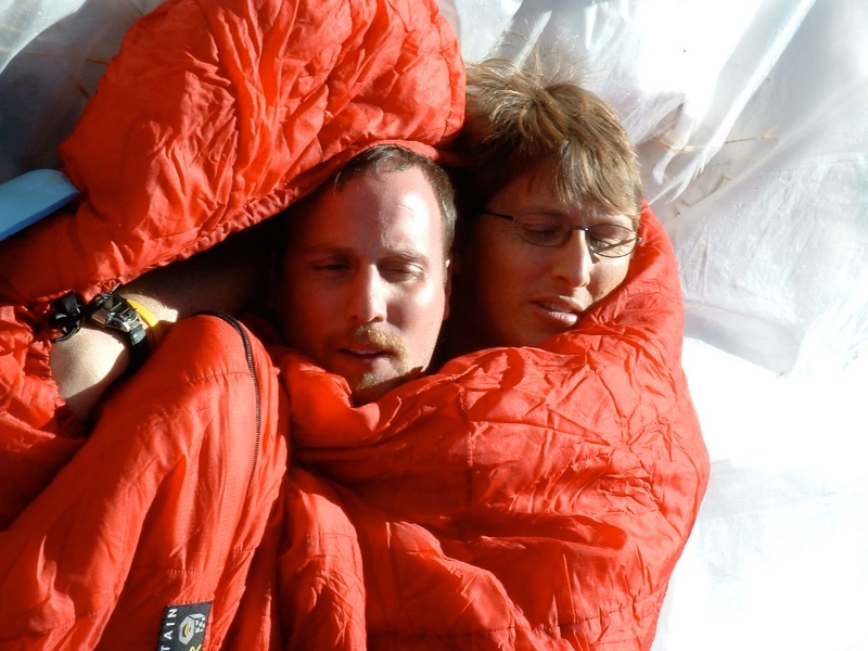 Two people in a sleeping bag