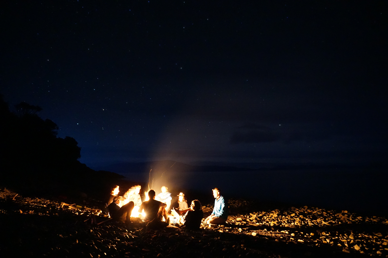 Sittng around a campfire