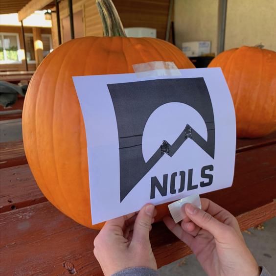 Stencil on top of a pumpkin