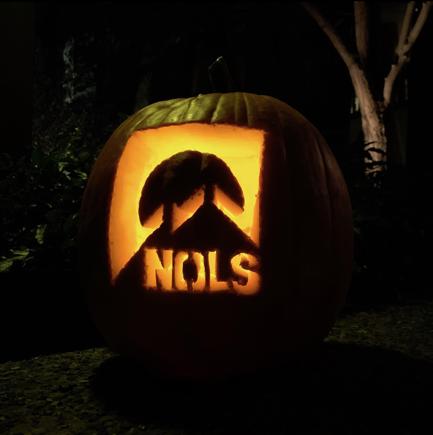 Illuminated NOLS Logo on a pumpkin