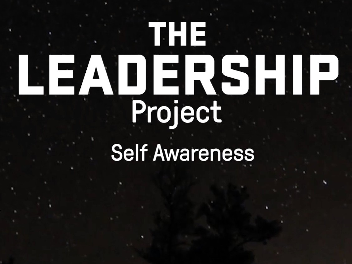 Text overlay night sky with the words The Leadership Project: Self Awareness