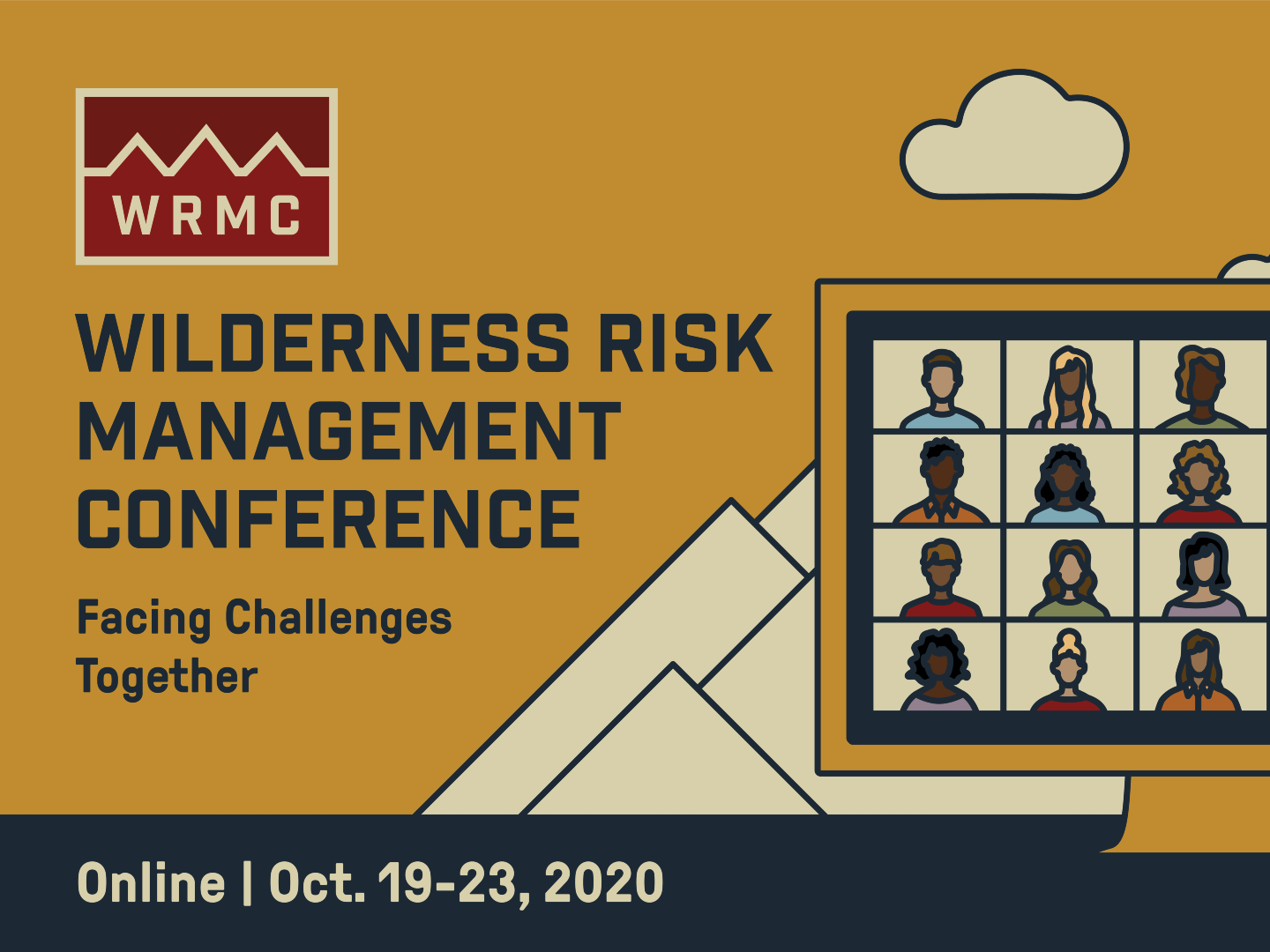 Banner for the 2020 Wilderness Risk Management Conference with stylized artwork of a laptop overlaying a mountain scene