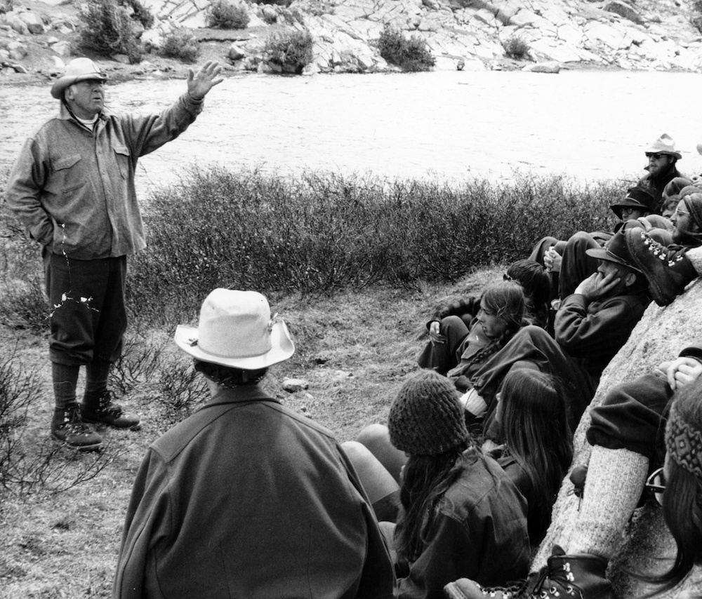 NOLS Founder Paul Petzoldt leads a group of students in the early years of NOLS.